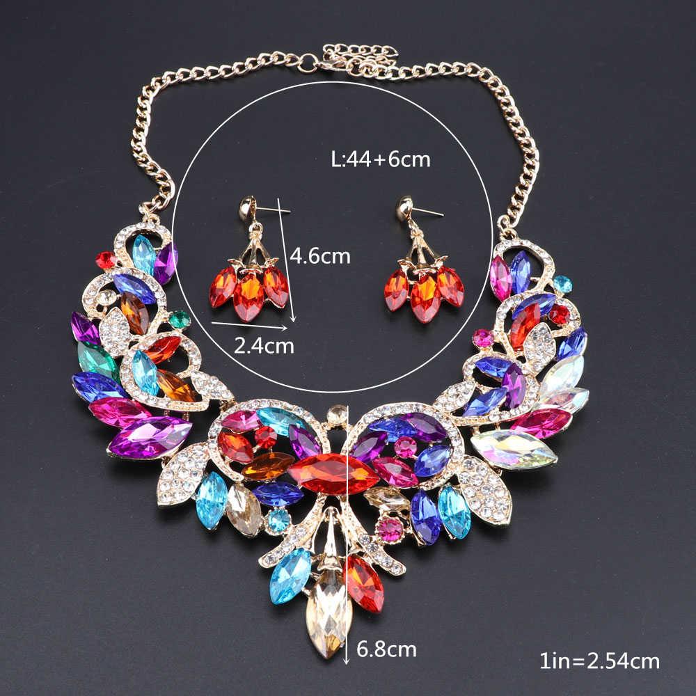 Модное разноцветное ожерелье-чокер с кристаллами для женщин, эффектное ожерелье, воротник с серьгами, вечерние комплекты ювелирных изделий в стиле бохо