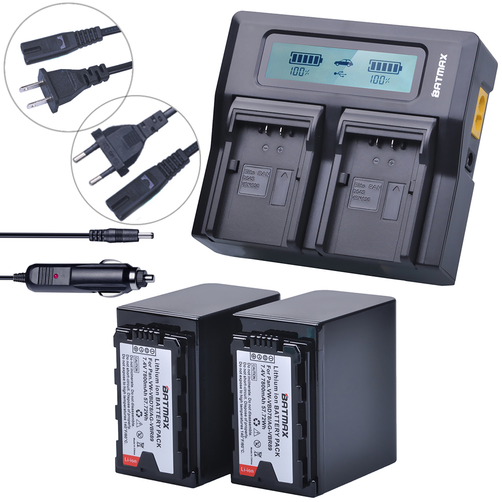 Batmax 2pc 7800mAh VW-VBD78 VBD78 Battery+LCD Rapid Dual Charger for Panasonic VBD78 VBR89 AJ-HPX260MC,HPX265MC,PX270,AG-FC100 guam крем лифтинг для тела и груди массажный crema 250 мл крем лифтинг для тела и груди массажный crema 250 мл 250 мл 0019