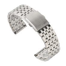 Серебряный браслет для часов 18/20/22 мм полый из нержавеющей