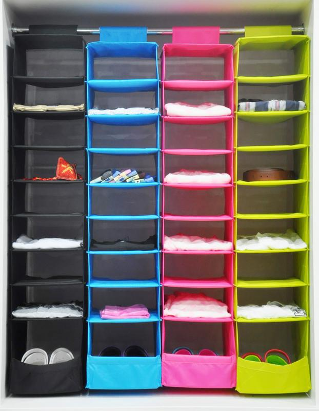 IKEA Style Washable Color Organizer Collection Hanging Accessory Shelves, 9  Shelf Shoes Organizer, Hanging Closet Organizer In Storage Bags From Home  ...