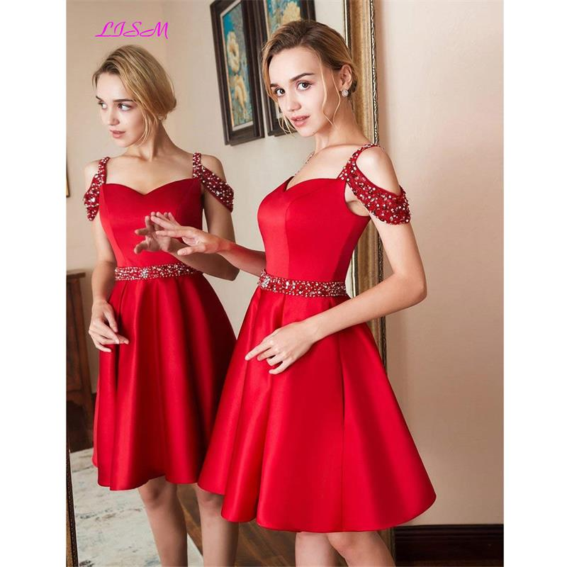 Red 2019 Homecoming Dress Cheap Short Off the Shoulder Satin Prom Dresses Beaded Cocktail Party Gowns Plus Size Custom Made 2019