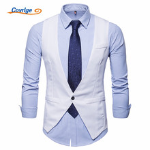 Covrlge Mens Business Casual Slim Vests Fashion Men Solid Color Single Buttons Fit Male Suit for Spring Autumn MWX032