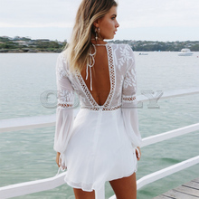 Bohemian Boho Beach Dress Summer Women Hollow Out Crochet Lace Chiffon Dress White V Neck Long Sleeve Backless Mini Sexy Dress sexy hollow out crochet lace mini dress