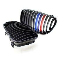 Shiny Gloss Black Front Bumper Kidney Grille For BMW E81 E82 E87 E88 LCI 08 11
