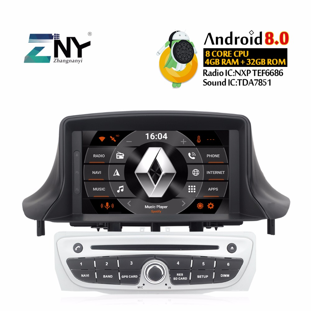 Android 8.0 Autoradio DVD Do Carro Para Megane 3 2009-2014 Fluence 7 IPS Multimídia De Áudio e Vídeo FM GPS navegação Estéreo Presente Câmera