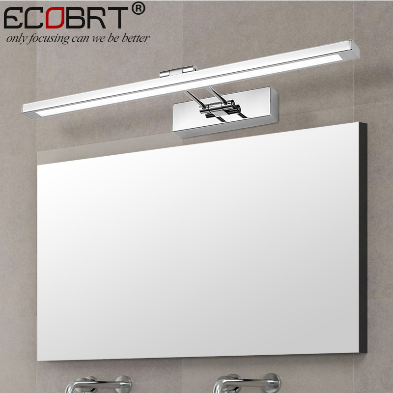 Modern Stainless Steel LED Wall Lights with Swing arm Bathroom Sconces Lights Over Mirror 41cm 55cm