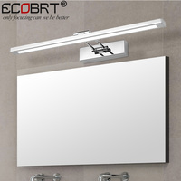 ECOBRT Modern Stainless Steel LED Wall Lights With Swing Arm Bathroom Sconces Mirror Tube Lighting