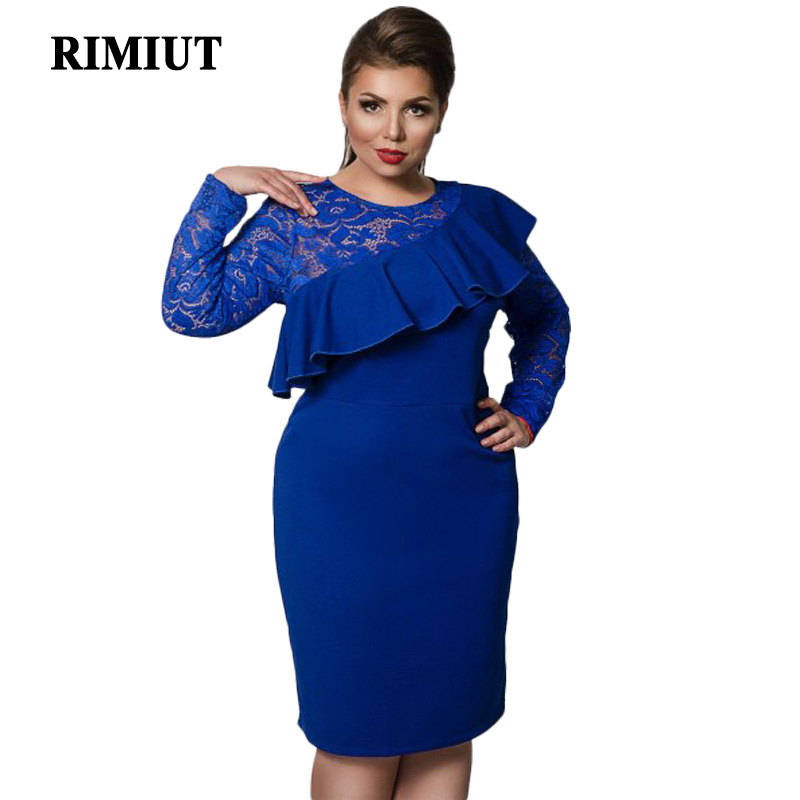 US $23.79 15% OFF|RIMIUT 6XL Plus Size Women Simple Royal Blue Long Sleeve  Lace Party Dresses Loose Casual Knee Length Vestido Dress Clothing-in ...
