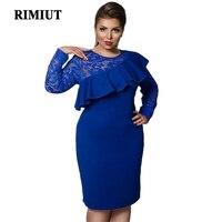 RIMIUT 6XL Plus Size Women Simple Royal Blue Long Sleeve Lace Party Dresses Loose Casual Knee Length Vestido Dress Clothing