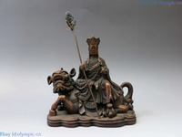 China bronze sculpture carved copper buddhism Foo Dogs Lion Ksitigarbha Statue