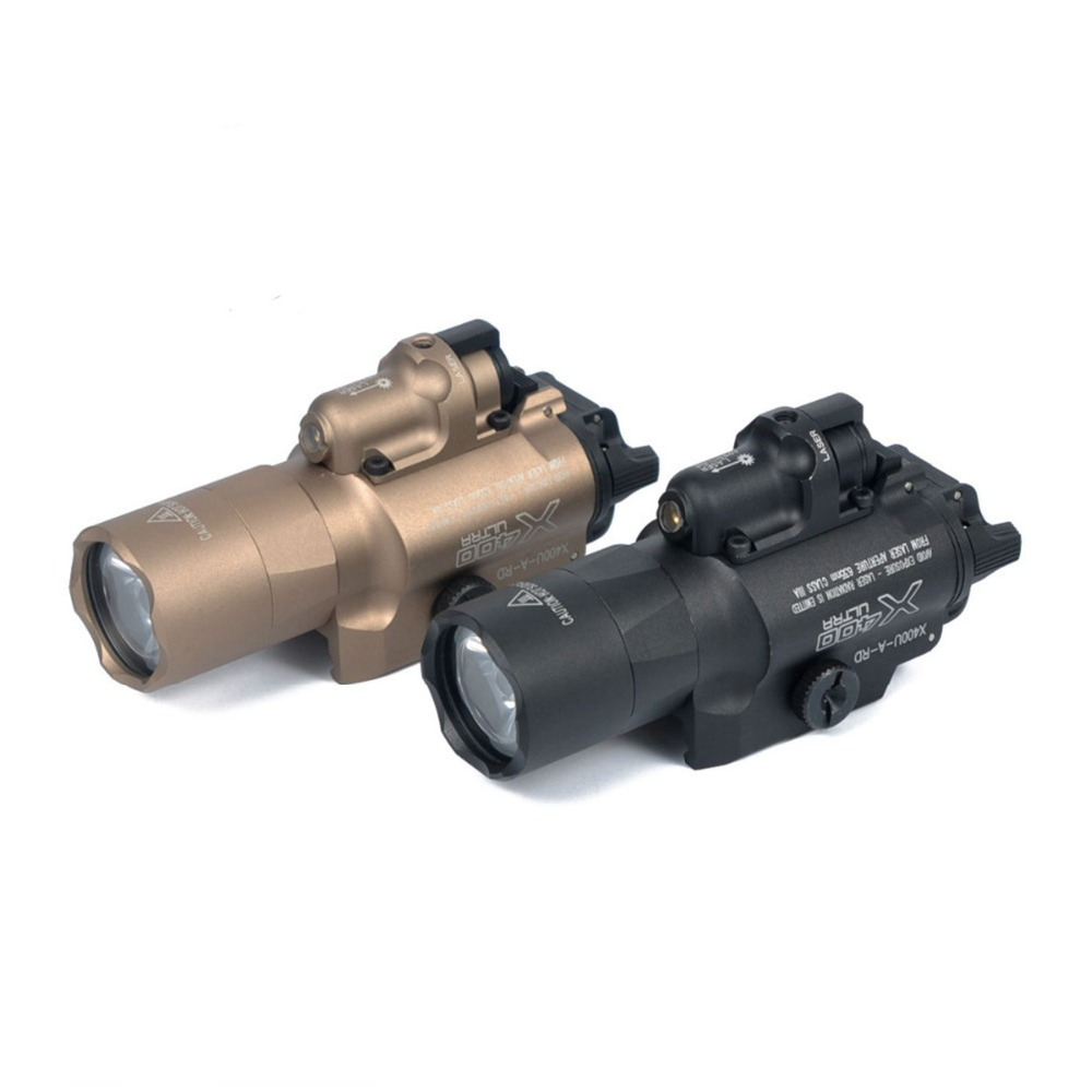 Tactical Flashlight SF X400U Weapon Light With Red Laser Sight For Rifle scope For Pistol laser head 440 bdp4110 sf bd414