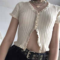 2019 été femmes Harajuku tricoté à volants courts manches chemise haut court Sexy Street Wear Femme à manches courtes drôle t-shirt