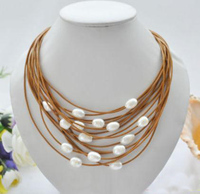 Elegant Handmade Real Pearl Jewelry 15row 20 13mm White Rice Freshwater Pearl Coffee Leather Necklace