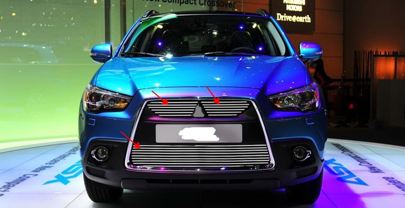 Aluminum alloy plating Front Grille Around Trim Racing Grills Trim 3Pcs/Set For 2010 2011 2012 Mitsubishi ASX abs chrome grille trim around racing grills light bar trim for mitsubishi asx 2010 2012