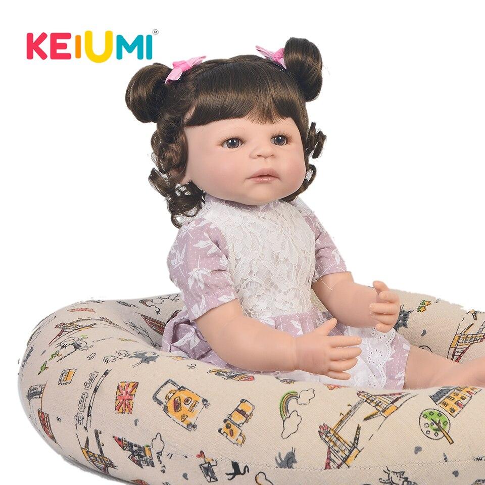 все цены на 23 Inch KEIUMI Baby Reborn Silicone Full Body Realistic Baby Doll For kids Fashion Reborn Baby Girl Dolls Girl Birthday Gifts онлайн
