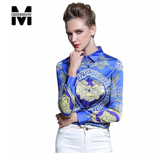 Merderheow Novo 2017 Primavera Elegante Estilo Europeu de Manga Longa Camisa Blusa Chiffon Das Mulheres Impresso Vintage Tops Camisas Casual L08