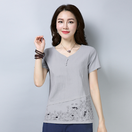 Cotton And Linen Short Sleeve Loose Women Blouses Plus Size Artistic Womens Clothing Print 3xl Casual Women Tops 4