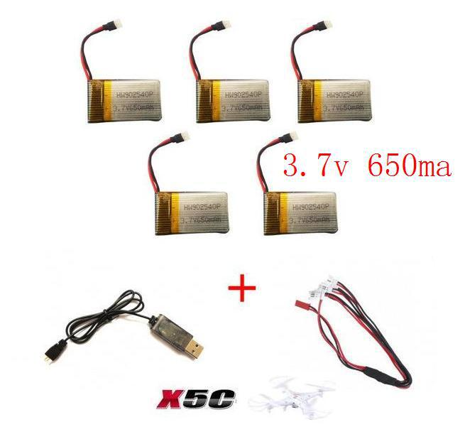 YUKALA x5c x5sc x5sw 2.4G RC quadcopter rc drone 3.7v 650mah Li-polymer battery with USB charger cable free shipping