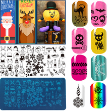 1Pcs Rectangle Nail Art Stamping Plates Christmas Halloween Design Nail Stamp Stamper Stencil DIY Polish Mould Manicure Tools 12