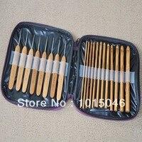 Miễn phí Vận Chuyển 1 Bộ 20 cái Bamboo Crochet Hooks Needles Knit Weave Craft Tool