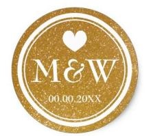 1.5inch Sparkly gold monogram wedding favor stickers seals