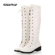 Дамские осенние ботинки, модель 2017 года белые сапоги на шнуровке женские сапоги осень-зима новые модные пикантные женские высокие сапоги до колена с высоким голенищем