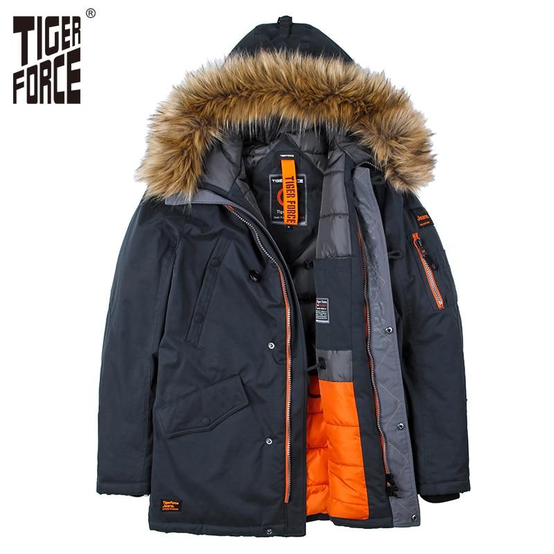 TIGER FORCE High Quality Men Padded Parka Cotton Coat ...