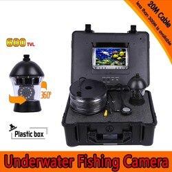 360 stopni panoramowanie podwodny aparat wędkarski zestaw z 20 metrów głębokości i 7 Cal Monitor TFT LCD z Menu OSD i twardych tworzyw sztucznych przypadku