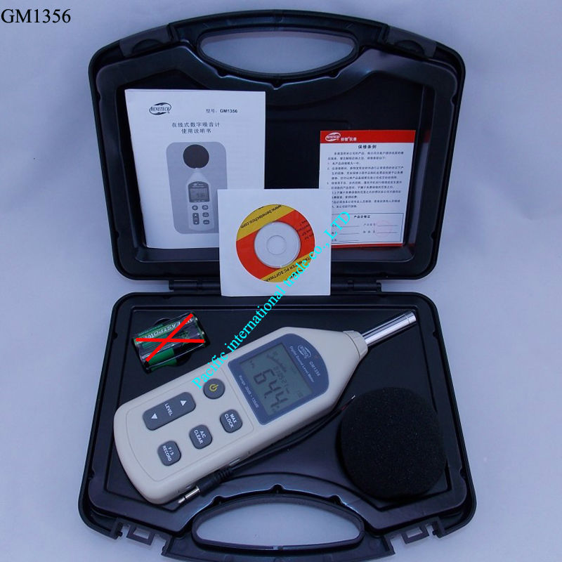 ФОТО Noise meter USB Digital Sound Level Meter Led Noise Tester meter GM1356  30-130dB A/C FAST/SLOW dB+ Software With Carry Box