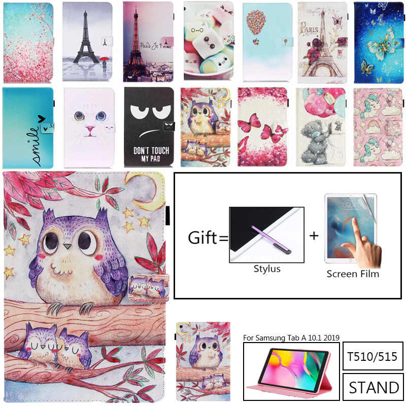 Case untuk Samsung Galaxy Tab A 10.1 2019 T510 T515 SM-T510 SM-T515 Cover Funda Tablet Fashion Dicat Bear Owl Stand shell + Film
