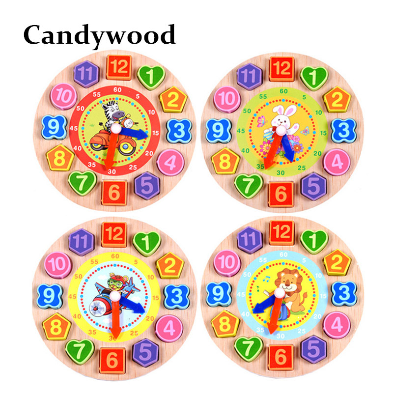 Wood Digital Geometry Clock Wooden font b Blocks b font font b Toys b font for