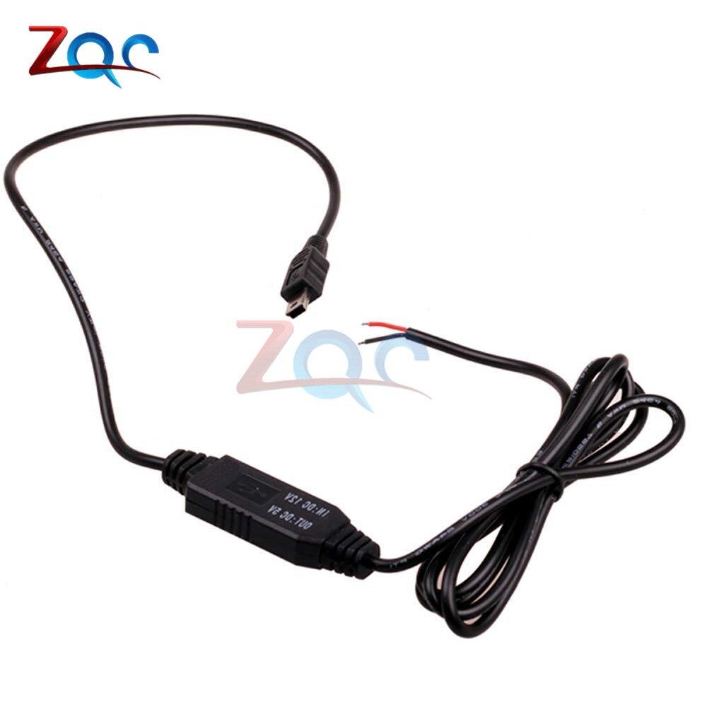 DC-DC от 12 В до 5 В пост преобразователь Micro Mini USB проводных автомобильное Мощность Зарядное устройство для gps планшет телефон PDA DVR Регистраторы Камера 1 м - Цвет: Mini USB Straight