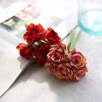 5pcs Lot 22cm Rose Flowers Real Touch Artificial Flower Home Decorations For Party Home Wedding Bouquet