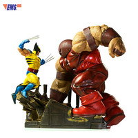 44CM Avengers:Infinity War Wolverine VS Juggernaut Combat Scenes 1/6 Statue Action Figure For Desktop Decoration X49