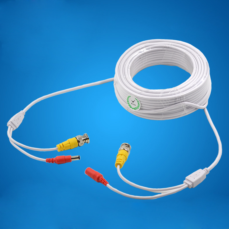BNC Video Cable Connector Plus DC Power Cord Wire Connector Power Video Integrated Line Monitoring Wire White 15M dc bnc шнур 10м