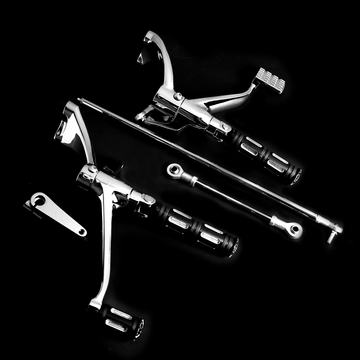 Chrome Forward Controls Linkages Edge CutFoot Pegs Fit For Harley Sportster XL 883 1200 04 13