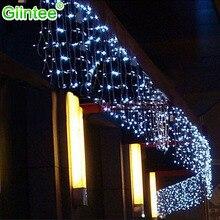 Светодио дный светодиодный Рождественский свет на открытом воздухе сосулька занавеска струнные огни Праздничная вечеринка Декор дома окно стены дом полосы ночного освещения в помещении