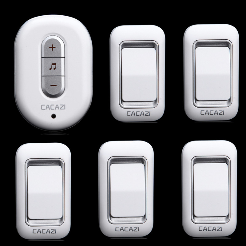 ФОТО 5 transmitters+1 receiver 300M remote control digital plug-in AC 110-220V elderly pager waterproof button wireless door bell