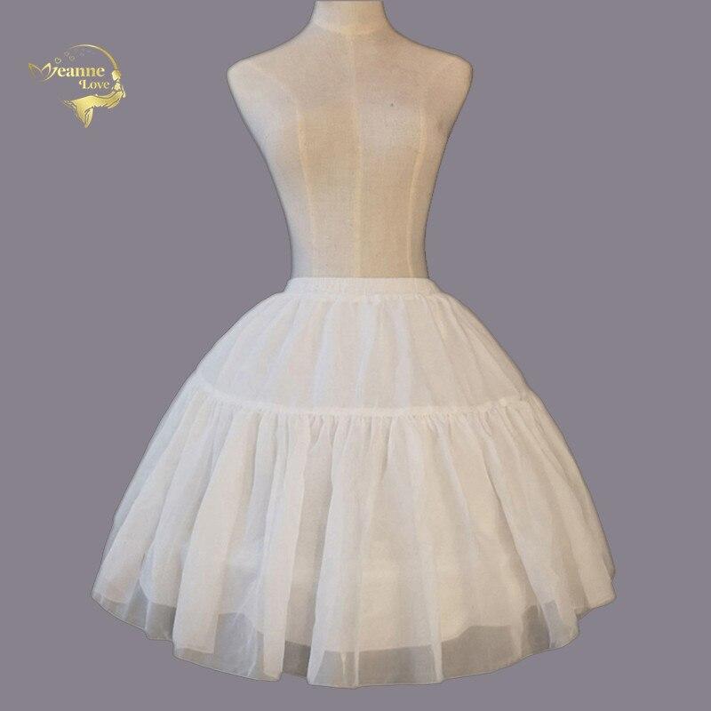 In Stock White Short Underskirt For Womens Dress 2 Two Hoops Bone Black Petticoat For Party Fluffy Gather Skirt Slip Crinoline