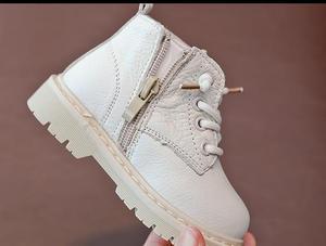 Image 4 - أحذية أطفال طويلة جلد طبيعي أحذية أطفال طويلة الرقبة الدانتيل متابعة الأطفال الثلوج الأحذية المخملية الدافئة الشتاء الأحذية