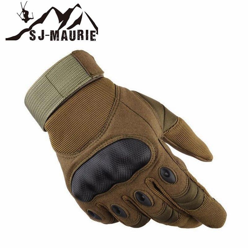 Sj-maurie al aire libre deporte táctico duro nudillo completo dedo guantes hombres caza tiro ciclismo escalada policía deber sin dedos
