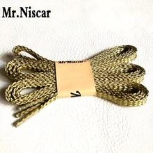 Mr.Niscar 1 Pair Gold Line Flat Shoelaces Imitation 24K Golden Silk Shoe Laces Strings Strong Width 0.7 cm/Length 110cm,140 cm