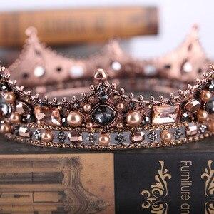 Image 4 - Forseven jóias de cabelo nupcial cheia círculo contas pérola tiaras coroas diadem headpiece feminino casamento acessórios para cabelo jl