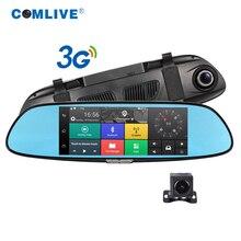 "Freie 32 GB karte nachtsicht 3G auto dvrs Quad core android 5.0 dashcam auto kamera 7 ""bluetooth GPS navi spiegel auto recorder"