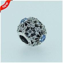 Calado del copo de nieve de plata del encanto con elegante luz azul y CLEAR ZIRCONIA925 joyería de plata esterlina granos del encanto Diy caliente