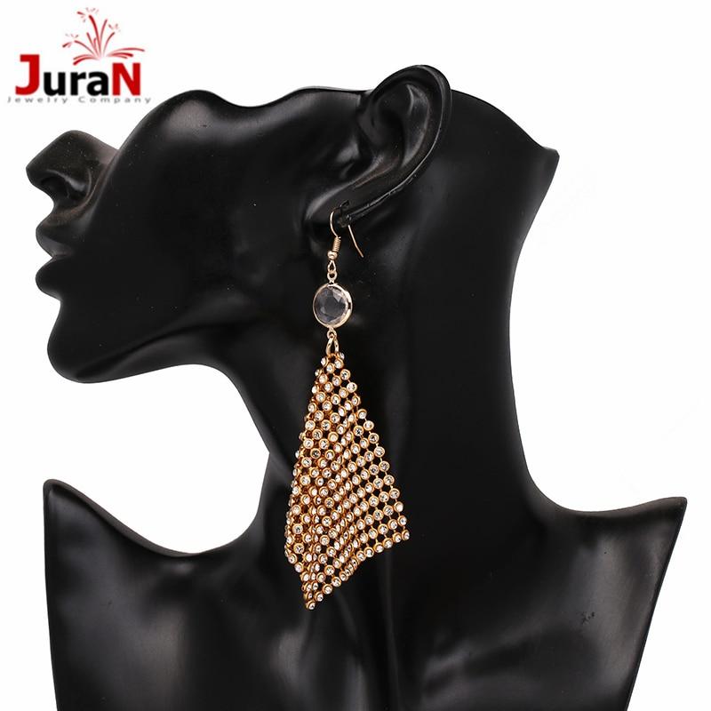 JURAN New drops tassel Chain mail with Rhienstone fashion jewelry for women statement Hyperbole earrings wholesale