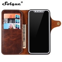 Solque Luxury Genuine Leather Flip Cover For IPhone X 10 Leather Card Wallet Case For IPhoneX