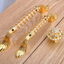 96mm 128mm 24K gold rhinestone win cabinet dresser door handle glass diamond drawer knob pull fashion deluxe furniture handle 5