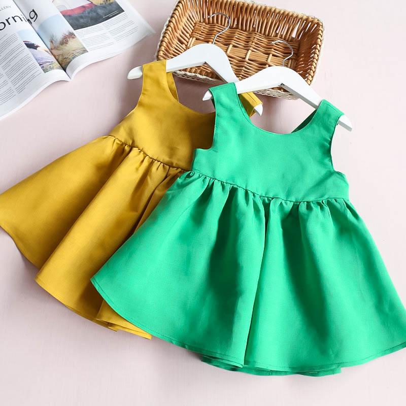 HTB1z YpRXXXXXcDaFXXq6xXFXXX5 - Hurave Summer 2017 New Cute Style Fashion Sleeveless Girls Bow Dress Girl Clothing For Children Cute Dresses Vestidos