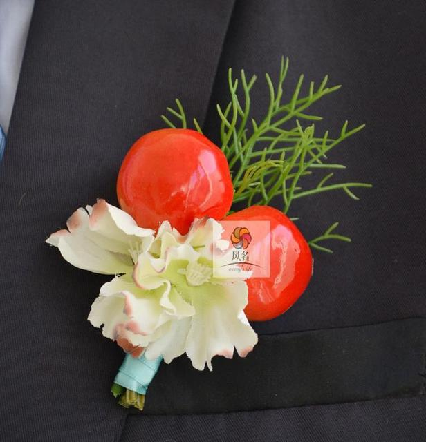 Top quality new 5pcslot best man groom boutonniere silk flower red top quality new 5pcslot best man groom boutonniere silk flower red fruit wedding groomsman mightylinksfo